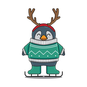 Милый пингвин лыжи