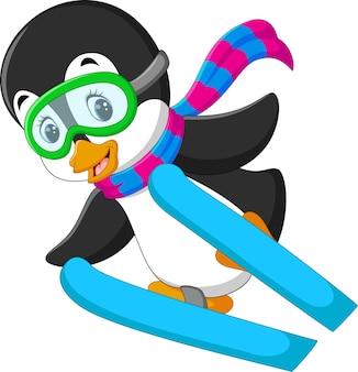 Милый пингвин лыжный мультфильм
