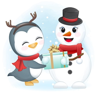 Cute penguin and snowman with gift box christmas season illustration