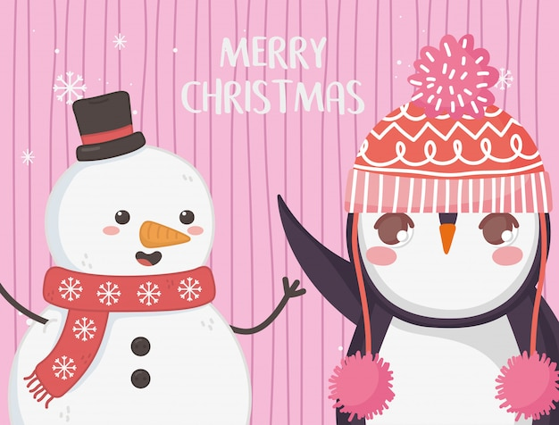 Cute penguin and snowman with hat merry christmas