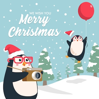 Cute penguin taking picture fly away penguin friend