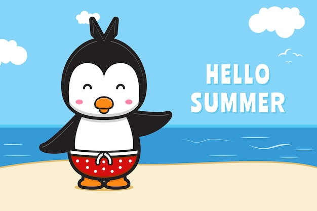 Милый пингвин машет рукой с летним приветствием баннер мультфильм значок иллюстрации