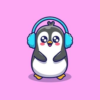 귀여운 펭귄 착용 귀마개 그림. 동물 겨울. 플랫 만화 스타일