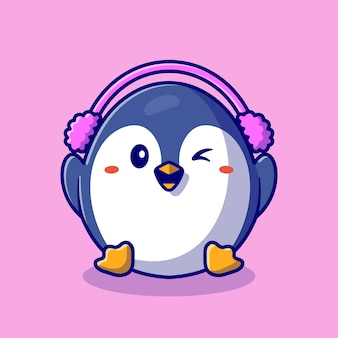 Cute penguin wearing earmuff cartoon