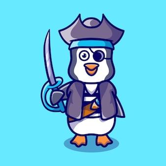 海賊のハロウィーンの衣装を着てかわいいペンギン