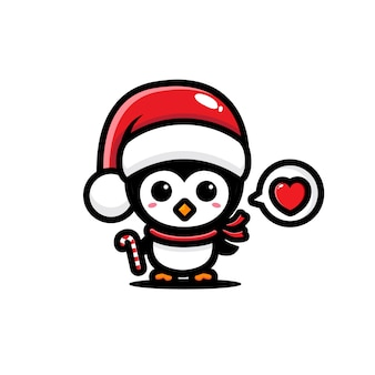 산타 클로스 모자를 쓰고 귀여운 펭귄
