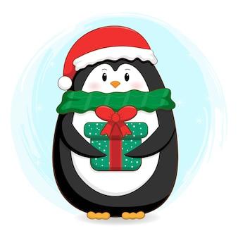 Cute penguin wearing scarf illustration