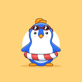 Cute penguin wearing sunglasses and float tire beach holiday animal mascot cartoon illustration