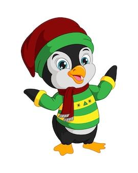 冬服を着たかわいいペンギン
