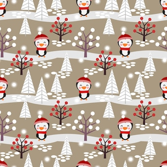 Cute penguin in the winter forest seamless pattern.