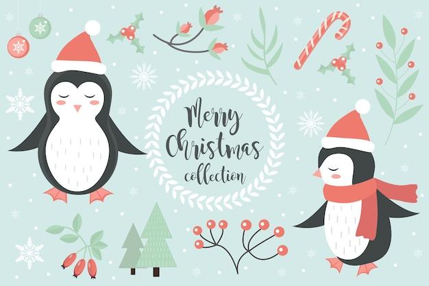 かわいいペンギンの冬の森のセット。メリークリスマスポストカード