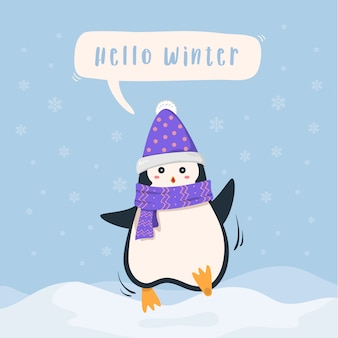 Cute penguin winter holiday snow landscape background.
