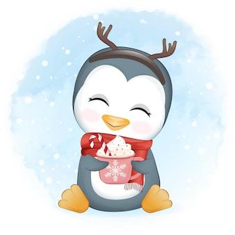핫 초콜릿 크리스마스 새 해 그림의 컵과 함께 귀여운 펭귄