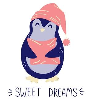 베개와 귀여운 펭귄 달콤한 꿈 좋은 밤 개념 보육 디자인 요소