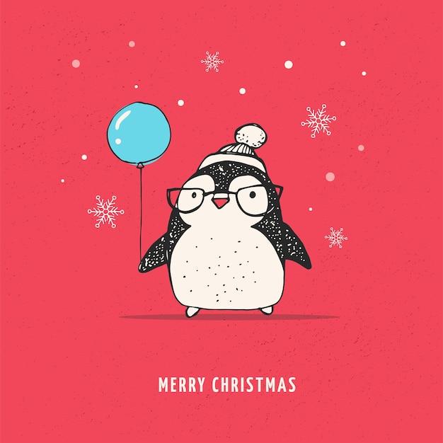 Милый пингвин с воздушным шаром - с рождеством