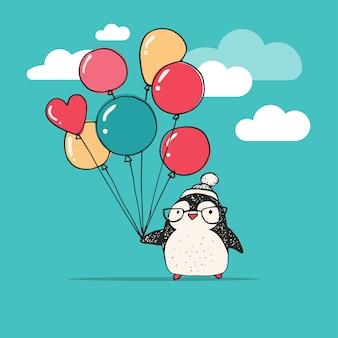 Милый пингвин с воздушными шарами - с рождеством