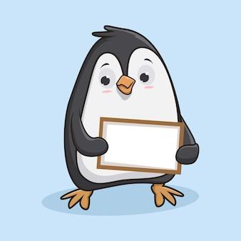 Милый пингвин с пустым знаком Premium векторы