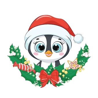 Милый пингвин с рождественским венком.