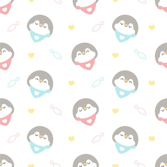 Cute penguin with collar seamless pattern background