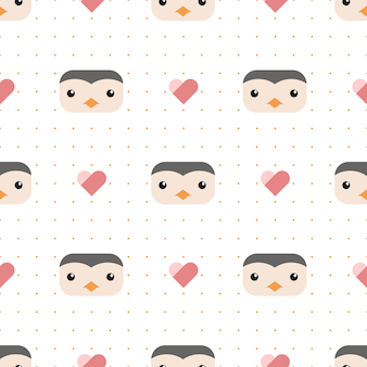 Cute penguin with dot and heart cartoon seamless pattern