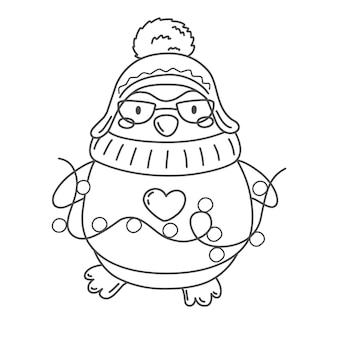 Cute penguin with garland coloring page merry christmas vector