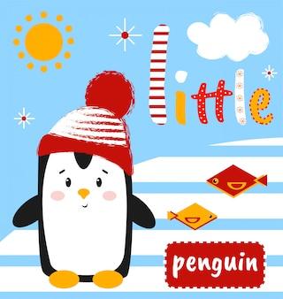 Cute penguin with the inscription little penguin