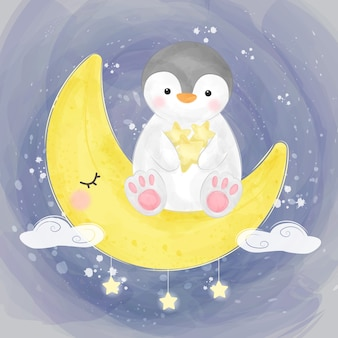 Cute penguin with the moon