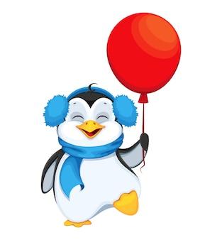 Милый пингвин с красным воздушным шаром. счастливого рождества