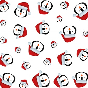 Cute penguin with santa claus hat pattern