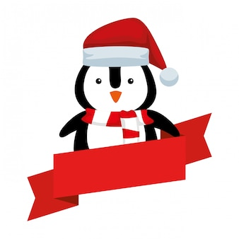 Cute penguin with santa claus hat