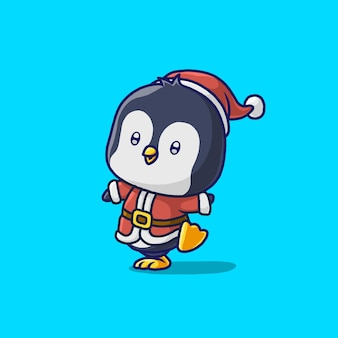 Cute penguin with santa cloth isolated on blue
