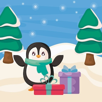 Cute penguin with scarf and gift boxes on winter landscape