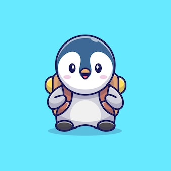 Cute penguin with school bag