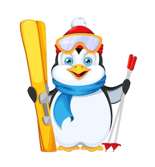 Cute penguin with skis. merry christmas and happy new year