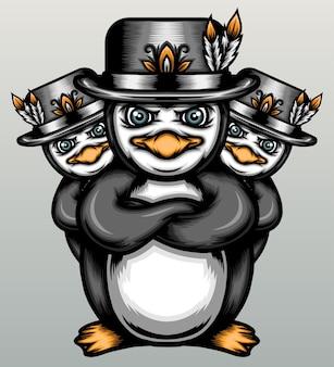シルクハットとかわいいペンギン。