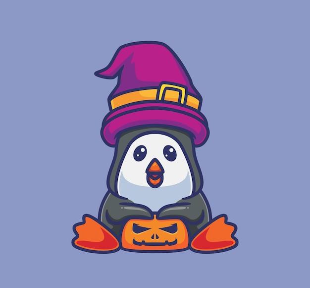 호박과 귀여운 펭귄 마법사입니다. 격리 된 만화 동물 할로윈 그림입니다. 스티커 아이콘 디자인 프리미엄 로고 벡터에 적합한 플랫 스타일. 마스코트 캐릭터
