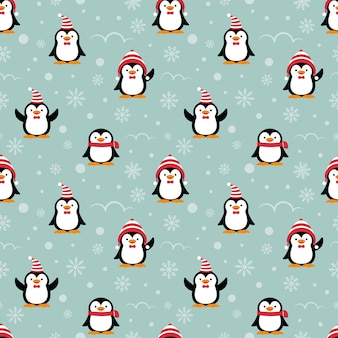 Cute penguins cartoon seamless pattern.