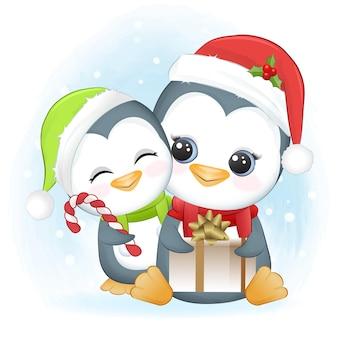 Cute penguins and gift box christmas season illustration
