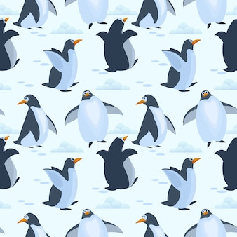 Cute penguins on ice seamless pattern background.
