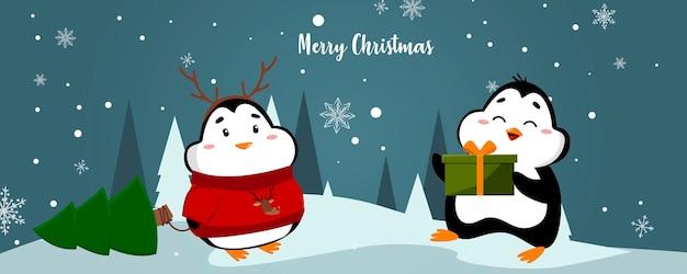 クリスマスの挨拶とかわいいペンギンのイラスト