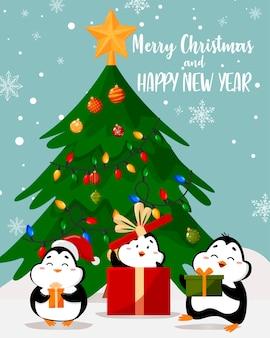 クリスマスツリーの近くのかわいいペンギンとギフトのイラスト