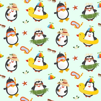 Cute penguins seamless pattern