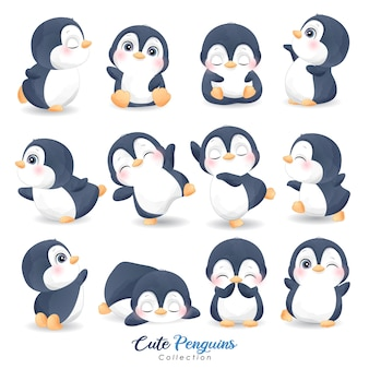 Cute  penguins set for christmas day with watercolor illustration