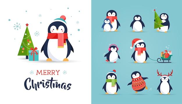 Симпатичные пингвины набор иллюстраций - с рождеством христовым
