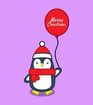 Симпатичные пингвины с воздушным шаром. рождественская концепция. плоский мультяшный стиль