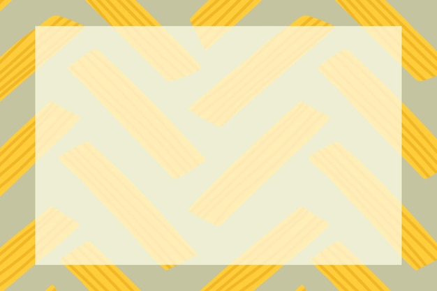 Cute penne pasta frame vector in rectangle shape doodle food pattern