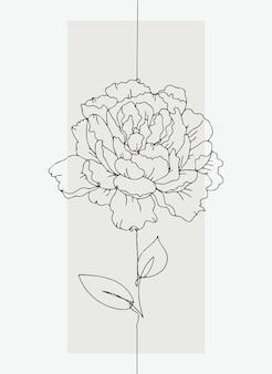 パステルカラーの背景にラインアートスタイルのかわいい牡丹の花。ベクトルイラスト。