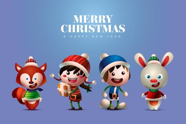 かわいい人と動物のクリスマスキャラクター