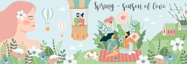 かわいい人と春の自然。愛、人間関係、若者。