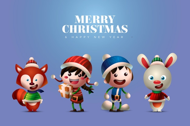 Cute people and animals christmas characters